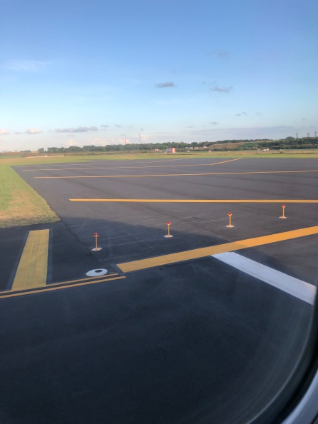Lining up on the runway at PHL